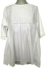 NEW, QUEENE AND BELLE WHITE COTTON PEASANT-STYLE BLOUSE, L, $1450