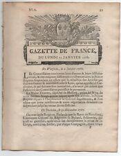 1768 RARE GAZETTE de FRANCE DITE RENAUDOT N° 8 A VOIR