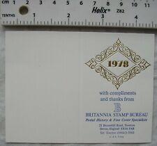 1978 calendar Britannia Stamp Bureau, Tiverton, Devon