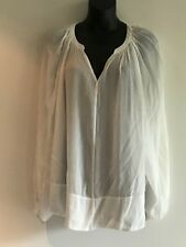 WITCHERY WHITE V NECK SHEER BOHO TUNIC / BLOUSE / TOP SIZE 10 AS NEW