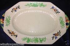 "ROYAL DOULTON GAY LADY OVAL PLATTER 13 1/2"" MULTICOLOR FLOWERS OCTAGONAL"