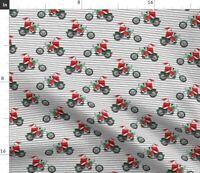 Christmas Santa Motorcycle Santa Claus Bike Spoonflower Fabric by the Yard