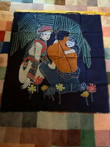 Genuine Handmade Chinese Dyed Batik Cloth Wall Hanging Art South West China