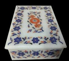 white Marble Box handicraft semi precious stones floral inlay art decor gift