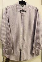 Men's BANANA REPUBLIC Long Sleeve Button Up Shirt Slim Fit Striped 17- 17 1/2