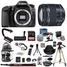 Canon 80D Camera 18-55mm STM Lens Microphone Bag 64GB Tripod Battery Grip Kit