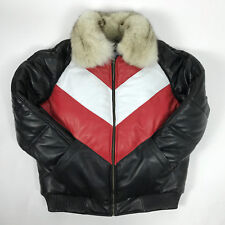 MENS GENUINE LEATHER V BOMBER JACKET FOX FUR COLLAR LAMBSKIN HIP-HOP SIZE L-6XL