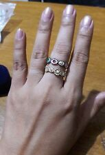 2 pcs. ladies fashion flower rings *size 6.5* rose gold and silver