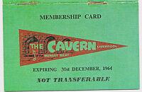 CAVERN CLUB Membership ID Card Beatles Mersey Beat 1964 Autographs Music Venue