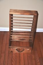 Wood Vertical Magazine Newspaper Rack Holder With Heart Cutout Primitive