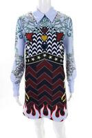 Mary Katrantzou Womens Eden Printed Crepe Mini Crystal A-Line Dress Blue Size 6