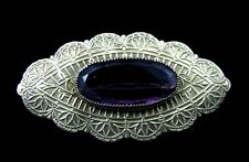 Victorian Era Pinchbeck and Faceted Amethyst Glass Brooch with C Clasp