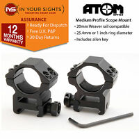 "25mm /1""inch Medium profile rifle scope mounts to fit 20mm weaver rail"