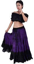 Negro púrpura Tie Dye danza del vientre falda de algodón 25 yardas