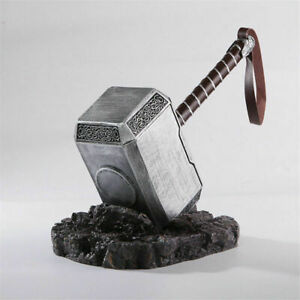 Marvel Avengers Mjolnir Solid Heavy Thor's Hammer with Stand Base Cosplay Prop