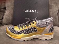CHANEL 14K Lace Up Tweed Metallic Leather Tennis Sneakers Kicks Shoes $1350
