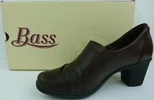 Bass Tonia Women 7.5 Brown Leather G.H Bass Co. Fashion Heels Mule Career Shoe