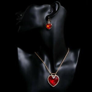 9 k Real Gold Filled  Red Diamond Heart Necklace Earrings & Pendant Set.