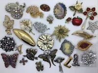 Estate 30 Brooch Pin Lot Pearl Enamel Rhinestone Flower Coro Liz AK Gold Tone