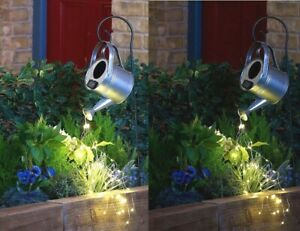 New Solar Watering Can Steel LED 48 Warm String Light Outdoor Decor H85cm/33½