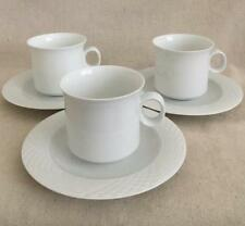 "3 Hutschenreuther Bianca (Scala, Glossy) Germany - 3"" Flat Cups & 6 1/4"" Saucers"
