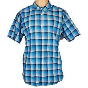 Patagonia Mens Button Front Shirt Sz L Organic Cotton Plaid Blue White