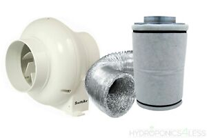 """4"""" In Line Fan Carbon Filter Duct Kit Hydroponics Grow Room Tent Ventilation"""