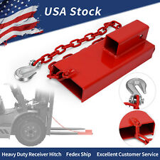 2 Forklift Hitch Receiver Towing Adapter Insert Pallet Forks Trailer With Chain