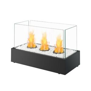 Bio Ethanol Triple Burner Black Fireplace Tabletop Firebox Burner Freestanding