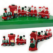 Christmas 4 Piece Wooden Xmas Train Santa Claus Festival Ornament Decor Gift Toy