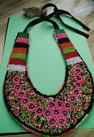 Handcrafted beaded African tribal collar necklace   ribbon