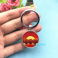 Red Tree Sunset Art Photo Tibet Silver Key Ring Glass Cabochon Keychains -512