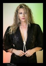 Vintage 1970 womans black nylon lace 3/4 sleeve