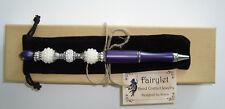 Ballpoint Pen Handmade Jeweled Beaded Purple W/Pearls/Rhinestones & Pouch NEW!
