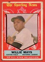 1959 Topps #563 Willie Mays AS VG-VGEX MARKED WRINKLE HOF San Francisco Giants