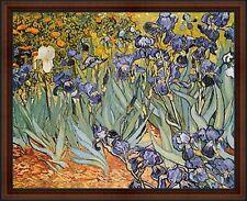 Irises by Vincent van Gogh. Framed Fine Art Reproduction Poster. Walnut Frame