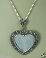 VINTAGE STERLING SILVER NECKLACE & HEART MARCASITE MOTHER PEARL PENDANT/BROOCH