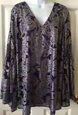 Michael Kors Womens 1X Purple Silver Top NWT Dressy