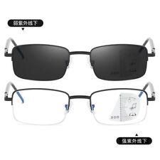 Transition progressive multifocal anti blue half rim reading distance glasses