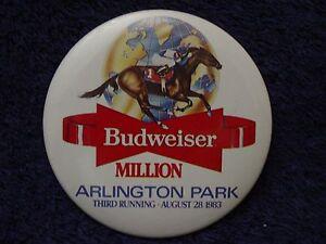 1983 BUDWEISER MILLION Horse Racing ARLINGTON PARK Pin Button Pinback 3rd Run