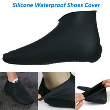 Männer Silicone Waterproof Shoe Cover Outdoor Rainproof Hiking Shoes Schwarz