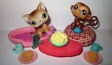 Littlest Pet Shop RARE 2006 TV NIGHT Calico Cat #19, Monkey #57 W/ accessories