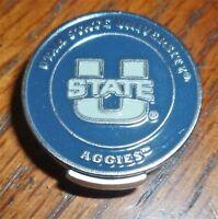 "Utah State University AGGIES 2 sided Golf Ball marker 1"" & Hat clip ~ NCAA"