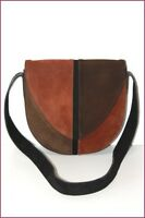 HEYRAUD Sac Besace Tout Cuir Marron Tricolore BE