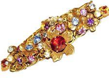 VTG 3 Chain Rhinestone Flower 3D Tiered Cluster Gold-tone Bracelet