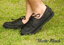 Leather Classic Boat Shoes for Men - Matte Black - Size 45 / 12