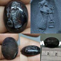 Ancient Roman emperor garnet engraved intaglio seal cabochon #66