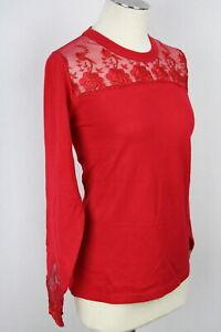 Sexy Damen Pullover Pulli Oberteil rot Spitze Viskose OVANTIGLOW  Gr.44,46