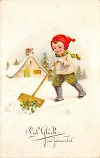 BG8635 boy cleaning snow clover child  neujahr new year greetings germany