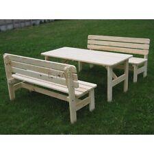 Set da giardino in legno, un tavolo e due panche, legno massiccio